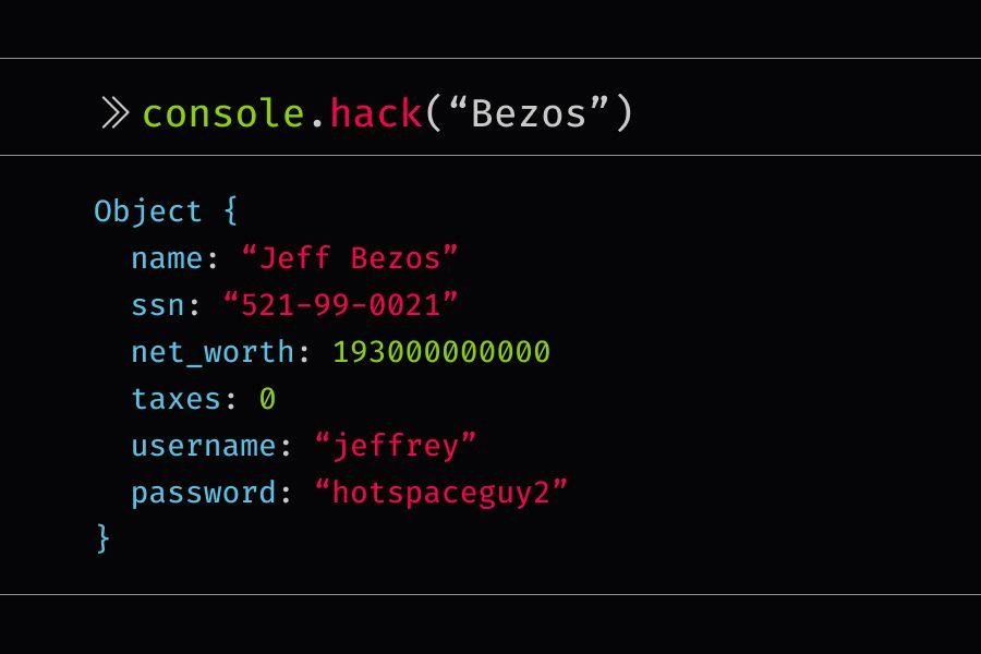 console.hack statement that reveals information about Jeff Bezos