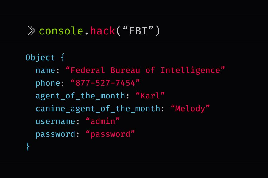 console.hack statement that reveals information about the FBI